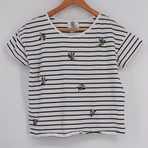 Lili's Closet Anthro Striped Embroidered Tee M